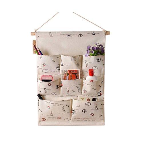 8-Pockets Zakka Wall Door Hanging Storage Magazine Organizer Bag, Sailing