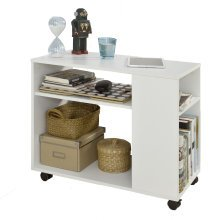 SoBuy® FBT34-W, Side Table End Table Coffee Table with Storage Shelves on Wheels