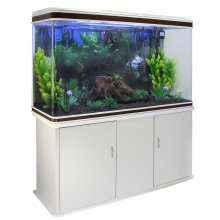 Aquarium Fish Tank & Cabinet with Complete Starter Kit - White Tank & Black Gravel