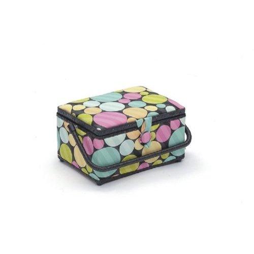 HobbyGift Medium Sewing Box / Basket With Pincushion & Removable Tray - Coloured Dots