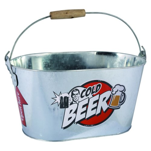 Out of the blue KG Cold Beer Bucket with Wooden Handle/2 Bottle Opener, Metal, Silver, 26 x 13 x 8 cm
