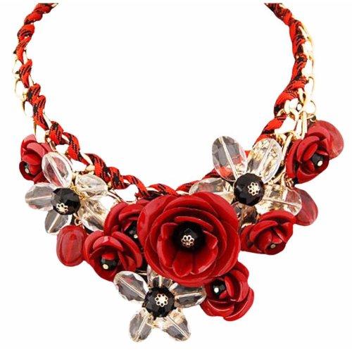 Fashion Colorful Flower Jewels Pendant Shirt Decoration Cord Necklace