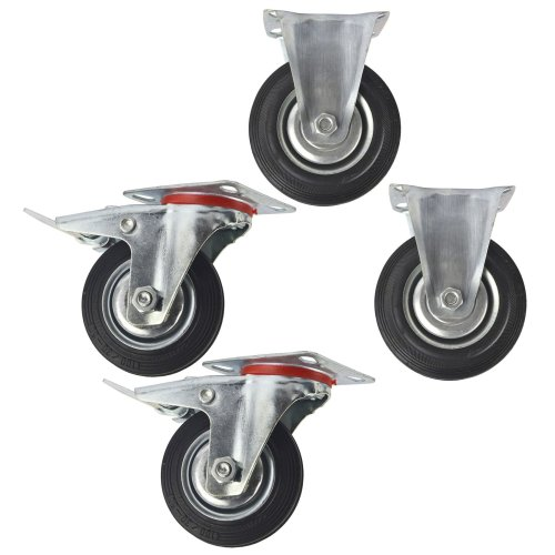 """4"""" (100mm) Rubber Fixed and Swivel With Brake Castor Wheels (4 Pack) CST03_05"""