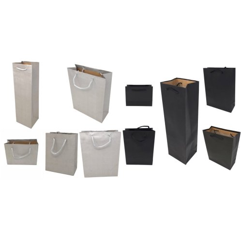 12 Pack Gift Bags Corded Handles Black Silver Wholesale Kraft Paper