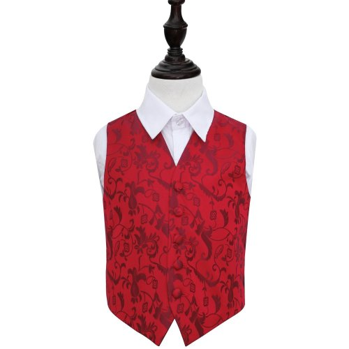 Burgundy Floral Wedding Waistcoat for Boys 28'