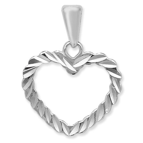 Sterling Silver Diamond Cut Open Heart Pendant On A Snake Necklace