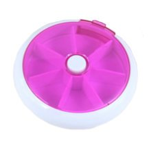 Circular 7 Day Pill Reminder Medicine Storage Container Pill Case, Purple