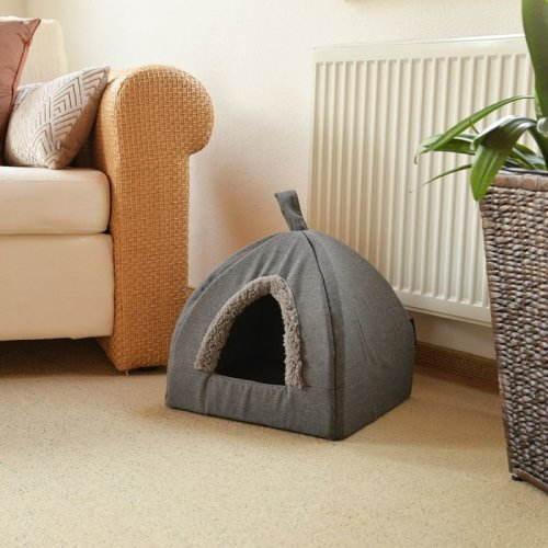 Cat and Dog Den Decorative Plush Border Anti Slip Base Removable Cushion