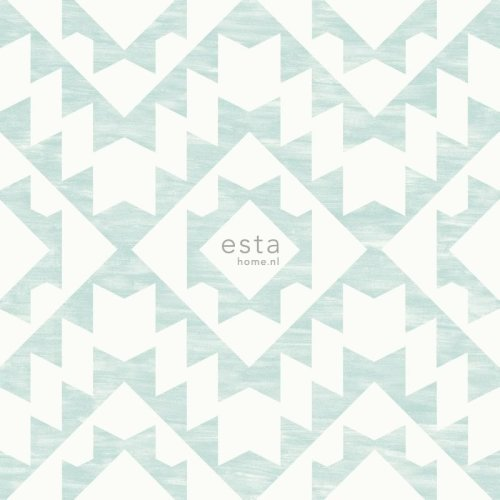 chalk printed eco texture non woven wallpaper Aztec marrakech ibiza carpet Gray light pastel mint green and matt white on OnBuy