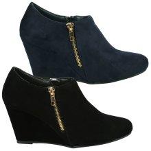 Womens Ankle Boots - Nadia High Wedge Heel Zip Detail Booties