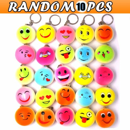 JACHAM Emoji Keychain, Mini Soft Mochi Squishy Toys Party Favors, 10PCS Random Kawaii Slow Rising Stress Relieve Fidget Keychain Decoration Toys...