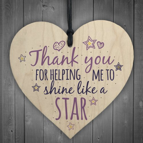 RED OCEAN Like A Star Teacher Leaving Gift Wooden Heart Plaque Teaching Assistant Preschool Birthday Thank You Gift