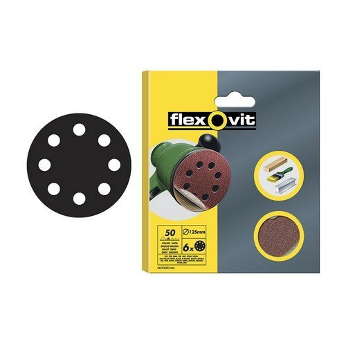 Flexovit 63642526392 Hook & Loop Sanding Discs 125mm Fine 120g Pack of 6