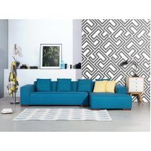 Sofa blue - Corner L - Upholstery Fabric -  LUNGO