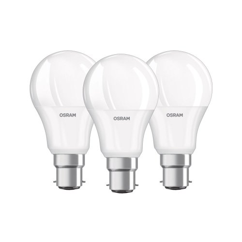 OSRAM LED Bulb / Socket B22, 9.5 W Equivalent 60 W / classic shape / Frosted Warm White - 806lm 2700K set of 3 [Energy rating A +]