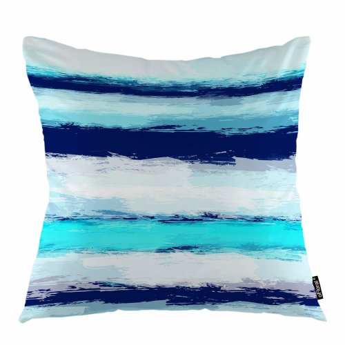 """Melyaxu Wave Throw Pillow Cover Sea Stripes Invitation Line Ocean Waves Decorative Square Pillow Case 18""""X18"""" Pillowcase Home Decor for Sofa Bedroom"""