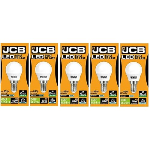 5 X JCB LED Daylight SES E14 Small Screw Golf Ball Mini Globe Lamp 6500K Light Bulb 40W Equivalent [Energy Class A+]