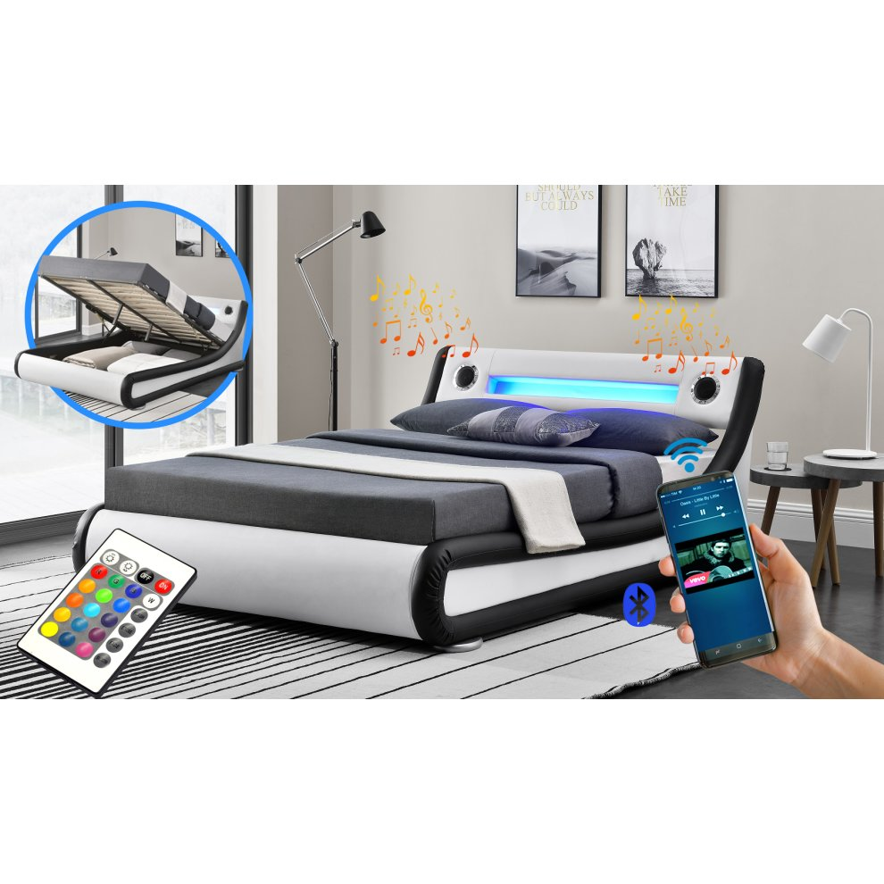 Rio Led Amp Bluetooth Speaker Ottoman Bed Frame On Onbuy