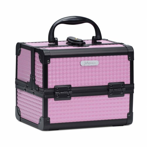 7ff46eb3d2bb Joligrace Girls Makeup Box With Mirror Cosmetic Case Jewelry Organiser  Light Weight Lockable With Keys (Pink)