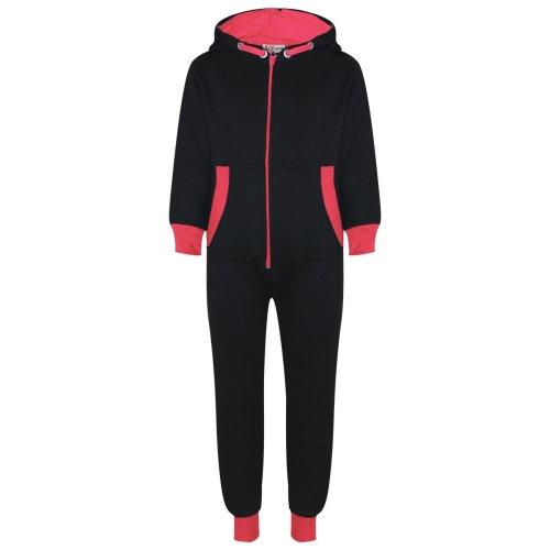 Kids Girls Fleece Contrast A2Z Onesie One Piece Neon Pink All In One Jumpsuits
