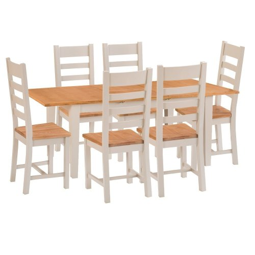 St. Ives Truffle Painted Oak 1.6m Ext. Table & 6 Wooden Seat Chairs