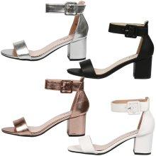 Wilma Ladies Mid Block Heel Ankle Strap Open Toe Holiday Sandals