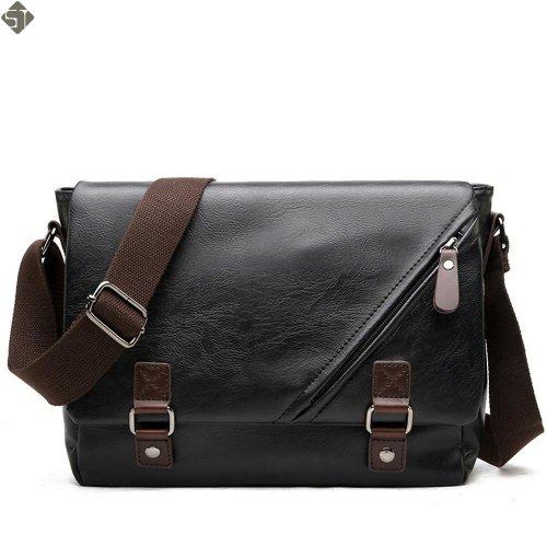 Young Fashion leather Men messenger bags casual Men\'s travel bags Man shoulder Laptop bag Black Waterproof Satchel