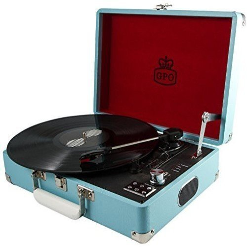 GPO Attache Briefcase Style Three-Speed Portable Vinyl Turntable with Built-in stereo speakers and Free USB Stick allowing instant digital...