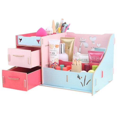 Fashion Wooden Make-up Storage Box Cosmetic Display Organizer Colourful