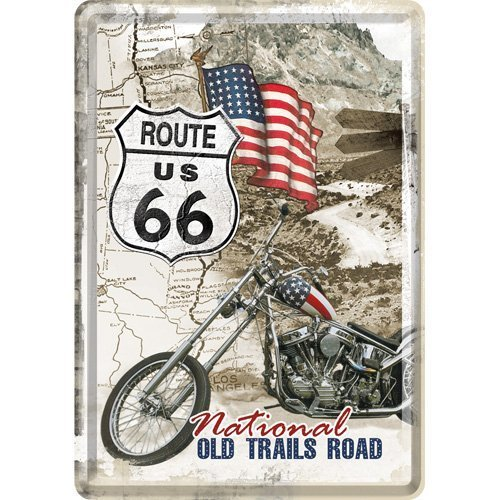 Route66 Old Trails Road Metal Postcard