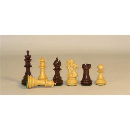 Checkmate 45RBKDQ Rosewood & Boxwood Bridle Knight with Beveled Base Triple Weighted & Felted 4 oz King Chess Board