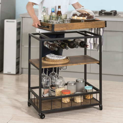 SoBuy® FKW56-N, Industrial Vintage Style Kitchen Serving Trolley Wine Rack