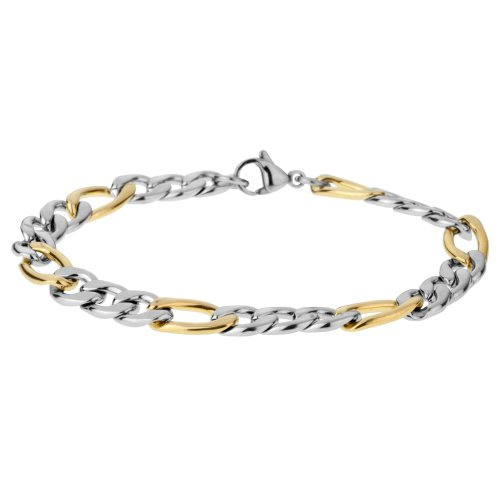 Urban Male Gold & Silver Stainless Steel Figaro Link Chain for Men