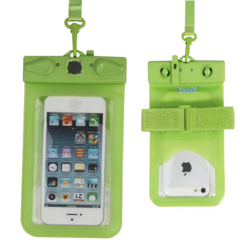 """5.5""""*3.7""""GREEN Waterproof Underwater Swimming Diving Dry Bag Pouch With Whistle"""