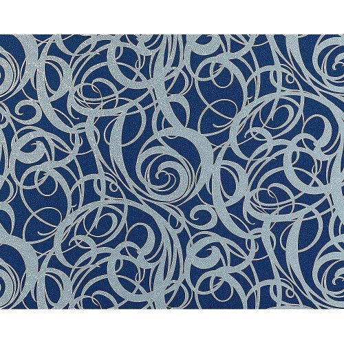 EDEM 971-37 wallpaper non-woven luxury curved swirl lines blue silver 114 sq ft
