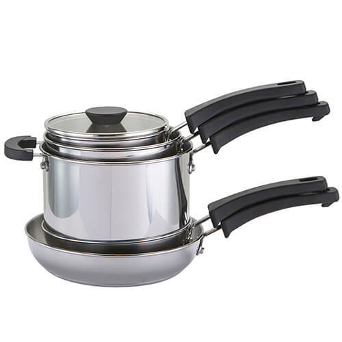 Prestige Kitchen Hacks Sauce and Fry Pan Set, Stainless Steel, 5-Piece