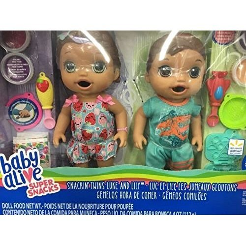Baby Alive Super Snacks Exclusive Snackin Twins Luke and Lily Medium Skin Brown Hair Green Eyes