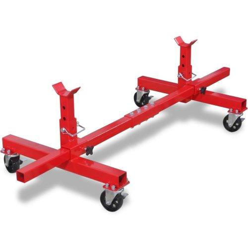 vidaXL Mobile Axle Stand Red 4 Wheels Car Van Caravan Vehicle Garage Tool