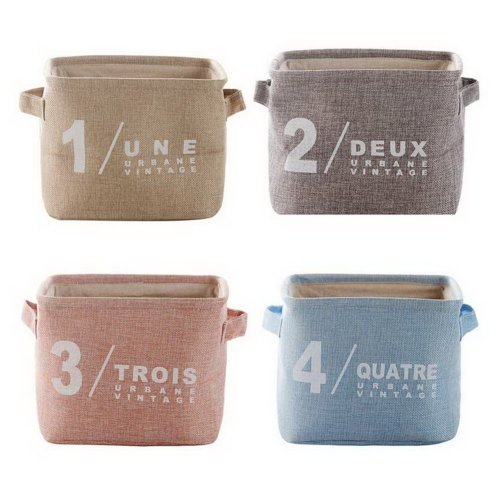 Set Of 4 Cotton Linen Baskets Keys Toys Snacks Debris Storage Box, 1 + 2 + 3 + 4