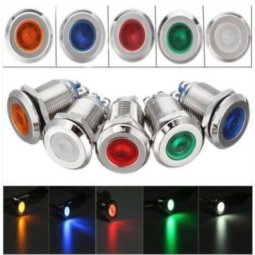 15mm LED Metal Indicator Pilot Dash Light Lamp Terminal Screw Panel Car Boat 12V