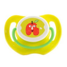 Lovely Cartoon Free Nighttime Infant Pacifier, Red Apple,Yellow