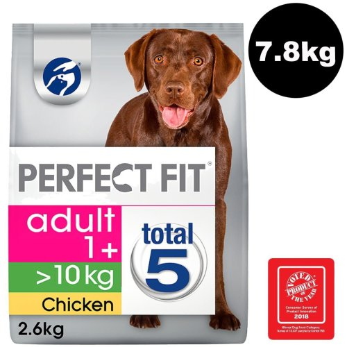 PERFECT FIT Dog >10kg Complete Dry Adult 1+ Rich in Chicken 3x2.6kg