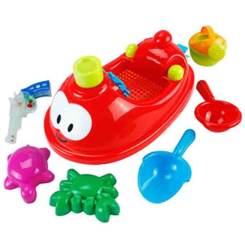 7 Pieces Sand-excavating Beach Kids' Sand Toys Children's Seaside Toys Set(Red)