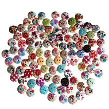 Trixes 100 Assorted Colourful Floral Gingham Polka Dot Buttons