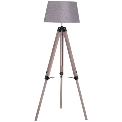 HOMCOM Free Standing Floor Lamp Bedside Light Tripod Holder Fabric - Shade Grey