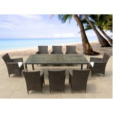 Beliani ITALY 220 Outdoor Dining Set | Resin Wicker Table with 8 Chairs