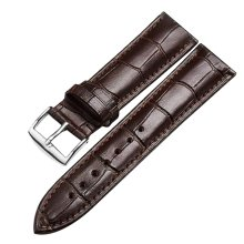 Leather Watch Band Watch Strap Wrist Replacement Silver Pin Buckle Brown 20mm