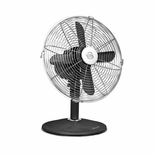 Swan Black Retro 12-inch Desk Fan, 1 Kg, 45 Watt,