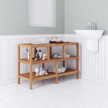 vidaXL Bathroom Shelf Solid Walnut Wood 100x40x65 cm
