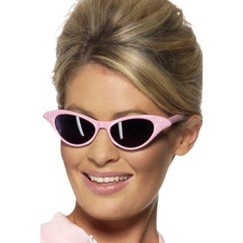 Smiffy's Specs Rock N Roll Sunglasses - Pink Fancy Dress Ladies Grease Womens -  sunglasses pink fancy dress rock roll ladies grease womens 1950s